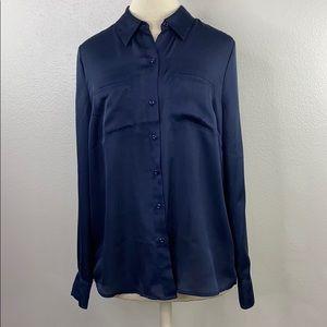 Ann Taylor loft navy blouse, size medium